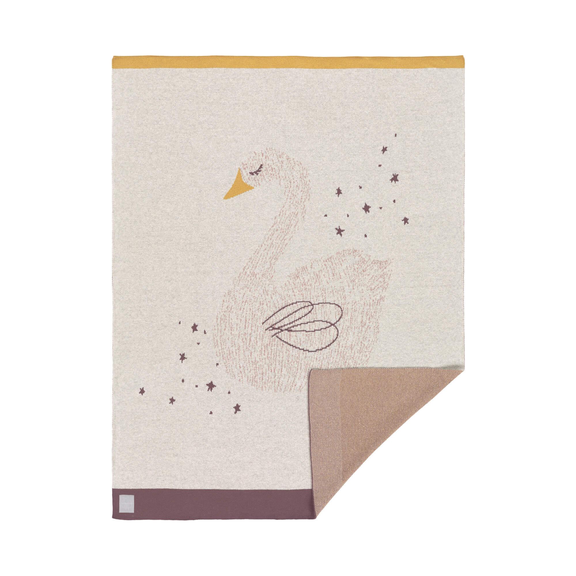 Couverture GOTS Little Water Cygne, 75 x 100 cm