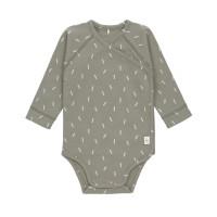 Baby Wickelbody Langarm GOTS - Cozy Colors, Speckles Olive (0 - 6 Monate)
