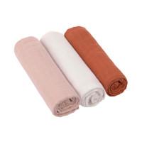 Mulltücher (3 Stk) - Swaddle & Burp Blanket 85 x 85cm, Powder pink Milky Rust