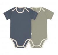 Baby Body (2er Set) Kurzarm GOTS - Cozy Colors, Blue (7 - 24 Monate)