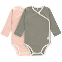 Baby Wickelbody (2er Set) Kurzarm GOTS - Cozy Colors, Powder Pink (0 - 6 Monate)