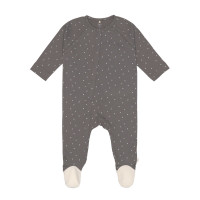 Baby Schlafanzug mit Füßen GOTS - Pyjama Cozy Colors, Spots Anthracite