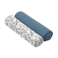 Mulltücher (2 Stk) - Heavenly Soft Swaddle XL, Glama Lama Blue