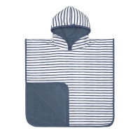 Kinder Badetuch - Beach Poncho, Stripes Navy