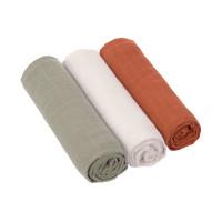 Mulltücher (3 Stk) - Swaddle & Burp Blanket 85 x 85cm, Rust Olive Milky