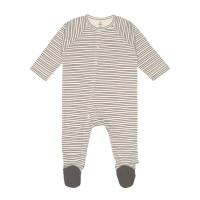 Baby Schlafanzug mit Füßen GOTS - Pyjama Cozy Colors, Striped Grey