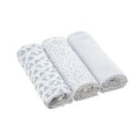 Mulltücher (3 Stk) - Heavenly Soft Swaddle & Burp Blanket L, Lela Light Grey