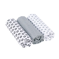 Mulltücher (3 Stk) - Swaddle & Burp Blanket L, Little Chums Stars White