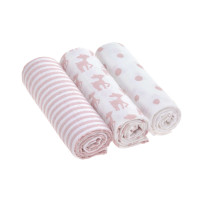 Mulltücher (3 Stk) - Swaddle & Burp Blanket L, Lela Light Pink