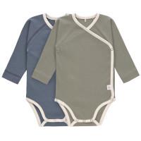 Baby Wickelbody (2er Set) Langarm - GOTS Cozy Colors, Blue (0 - 6 Monate)