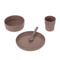 Kindergeschirr Set (Teller - Schüssel - Becher - Löffel), Uni Choco