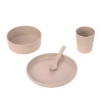 Kindergeschirr Set (Teller - Schüssel - Becher - Löffel), Uni Powder Pink