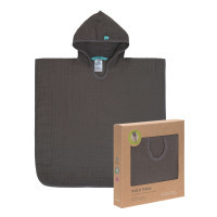Kinder Badeponcho aus Mull - Muslin Poncho, Anthracite