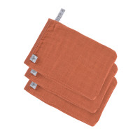 Waschhandschuhe aus Mull (3 Stk) - Muslin Glove, Rust