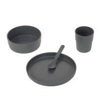 Kindergeschirr Set (Teller - Schüssel - Becher - Löffel), Uni Anthracite