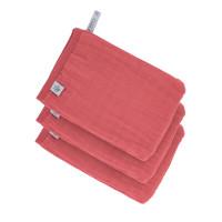 Waschhandschuhe aus Mull (3 Stk) - Muslin Wash Glove, Rosewood