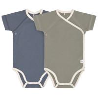 Baby Wickelbody (2er Set) Kurzarm - Cozy Colors, Blue (0 - 6 Monate)
