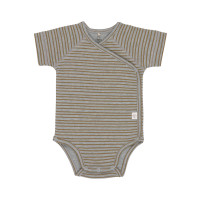 Baby Wickelbody - Kurzarm, Striped Grey Mélange (0 - 6 Monate)
