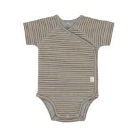 Baby Wickelbody - Kurzarm, Striped Grey Mélange (0 - 6 Monate)