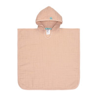 Kinder Badeponcho aus Mull - Muslin Poncho, Light Pink