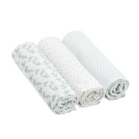 Mulltücher (3 Stk) - Heavenly Soft Swaddle & Burp Blanket L, Lela Light Blue