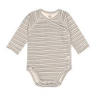 Baby Wickelbody Langarm GOTS - Cozy Colors, Striped Grey (0 - 6 Monate)