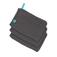 Waschhandschuhe aus Mull (3 Stk) - Muslin Wash Glove, Anthracite