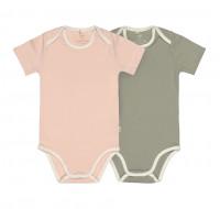 Baby Body (2er Set) Kurzarm GOTS - Cozy Colors, Powder Pink (7 - 24 Monate)