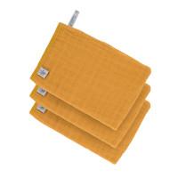 Waschhandschuhe aus Mull (3 Stk) - Muslin Wash Glove, Mustard