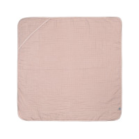 Kinder Kapuzenhandtuch aus Mull - Muslin Hooded Towel, Powder Pink