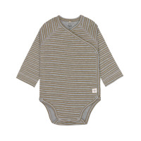 Baby Wickelbody - Langarm, Striped Grey Mélange (0 - 6 Monate)