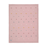Babydecke - Knitted Blanket GOTS, Dots Dusky Pink