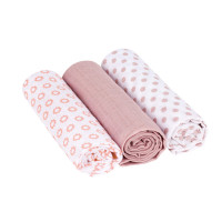 Mulltücher (3 Stk) - Swaddle & Burp Blanket L, Little Chums Stars Light Pink