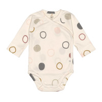 Baby Wickelbody Langarm GOTS - Cozy Colors, Circles Offwhite (0 - 6 Monate)