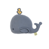 Kuscheltier mit Rassel & Knisterpapier - Knitted Toy, Little Water Whale