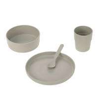 Kindergeschirr Set (Teller - Schüssel - Becher - Löffel), Uni Warm Grey