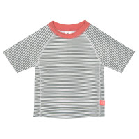 UV-Shirt Kinder - Short Sleeve Rashguard, Striped Coral