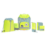 Schulranzen Set 7-teilig, Unique Blue Neon-Yellow
