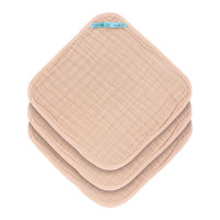 Waschlappen aus Mull (3 Stk) - Muslin Washcloth, Light Pink