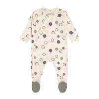 Baby Schlafanzug mit Füßen GOTS - Pyjama Cozy Colors, Circles offwhite