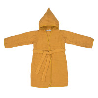 Kinder Bademantel aus Mull - Muslin Bathrobe, Mustard