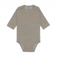 Baby Body - Langarm, Striped Grey Mélange (7 - 24 Monate)