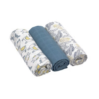 Mulltücher (3 Stk) - Heavenly Soft Swaddle L, Glama Lama Blue