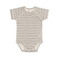 Baby Wickelbody Kurzarm GOTS - Cozy Colors, Striped Grey (0 - 6 Monate)